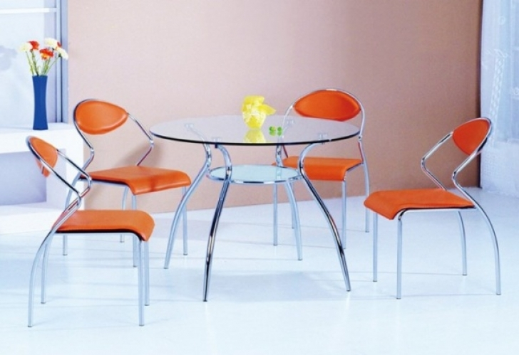 Glass Kitchen Tables For Small Spaces With Stylish Curved Prop And Stainless Legs Picture