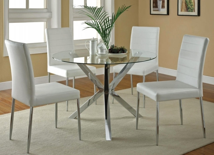 Glass Kitchen Tables For Small Spaces With Wonderful Round Glass Kitchen Table Sets Images