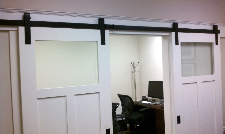 Home Hardware Decorating Ideas Throughout Eye Catching Half Frosted Glass Interior Barn Doors