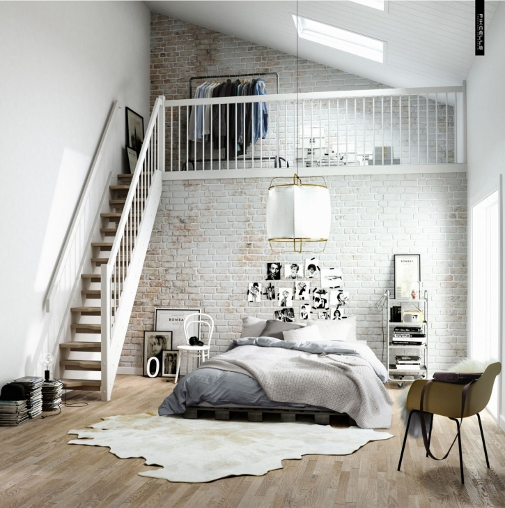 Incredible White Brick Wallpaper Bedroom In Airy And Fresh Scandinavian Bedroom With Upstairs Closet Photo
