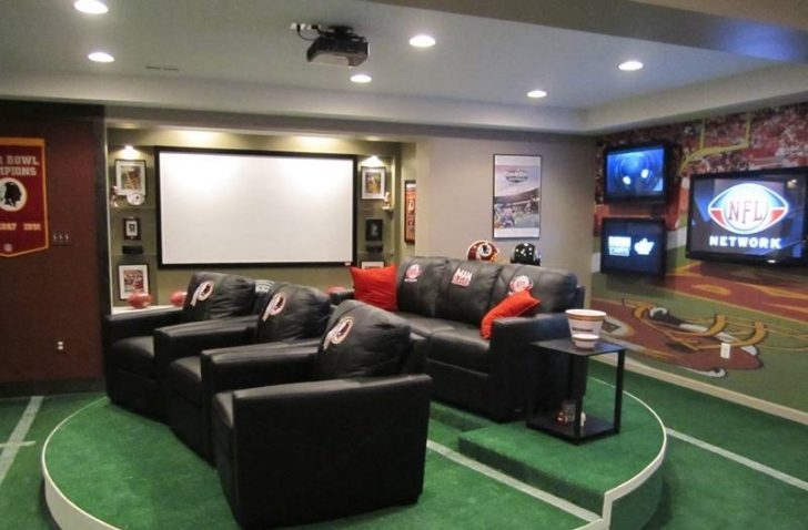 Inspiring Home Theatre Seating Ideas Throughout Sport Theme Man Cave And Lcd Tvs Projector Image