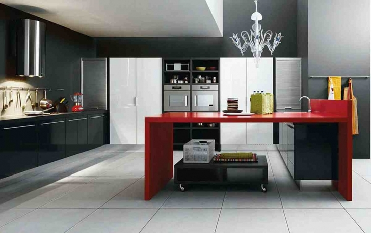 Italian Kitchen Design Within Stunning Red Island With Sink Idea Also Unique Chandelier And Modern Picture