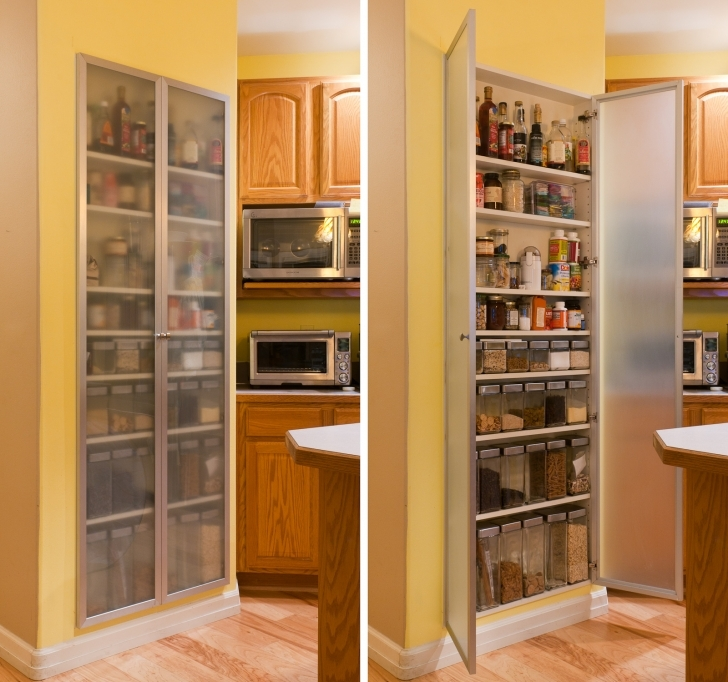 Kitchen Pantry Cabinet Ideas With Regard To Simple Long Wooden Wall And Frosted Glass Door Pics