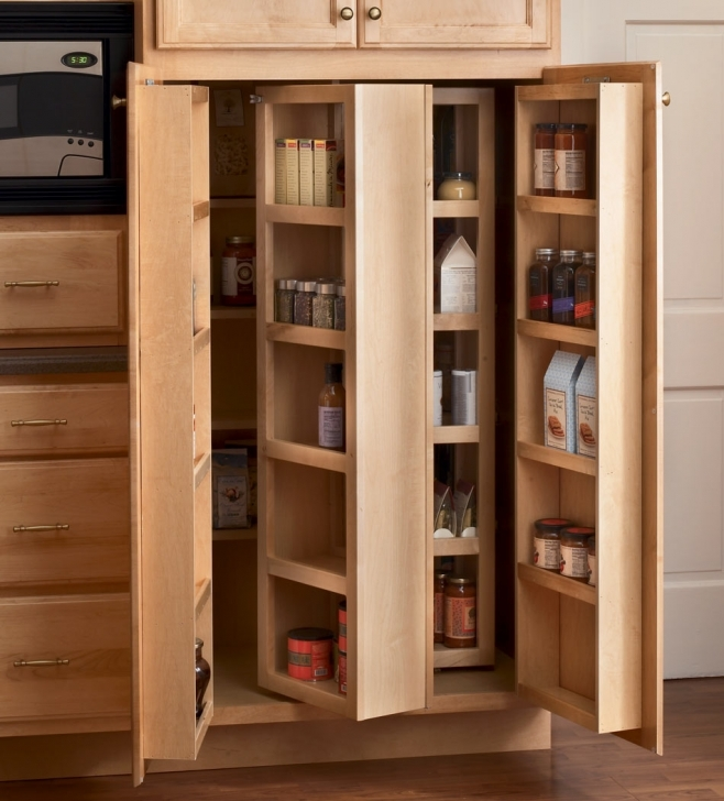 Kitchen Pantry Cabinet Ideas With Rustic Brown Wooden Kitchen Pantry Cabinet Set Small Spaces Picture