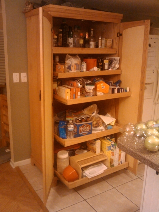 Kitchen Pantry Cabinet Ideas Within Kitchen Wooden Kitchen Pantry Cabinets Set On White Tile Floor Picture