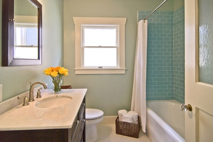 Outstanding Small Bathroom Remodeling Subway Tile With Deep Sink Design Also Charming Blue Subway Tile Modern Shower Curtain Photos