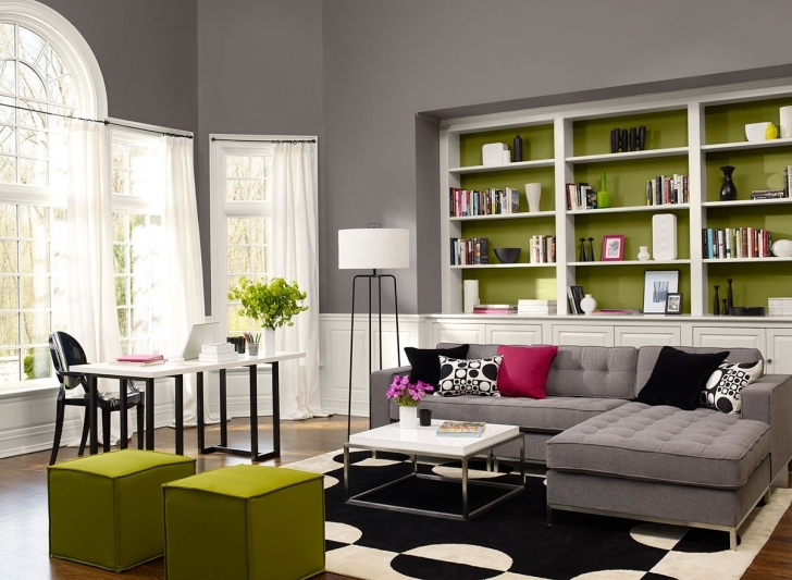 Stunning Gray Paint Colors For Living Room Throughout Combine Green Accent Picture