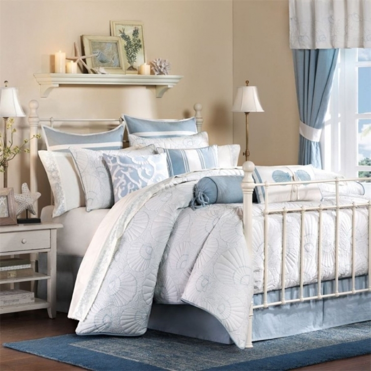 Stylish Beach Themed Bedroom Decor Regarding Plush Blue And White Bedding Also Unique Tall Table Lamps Pics