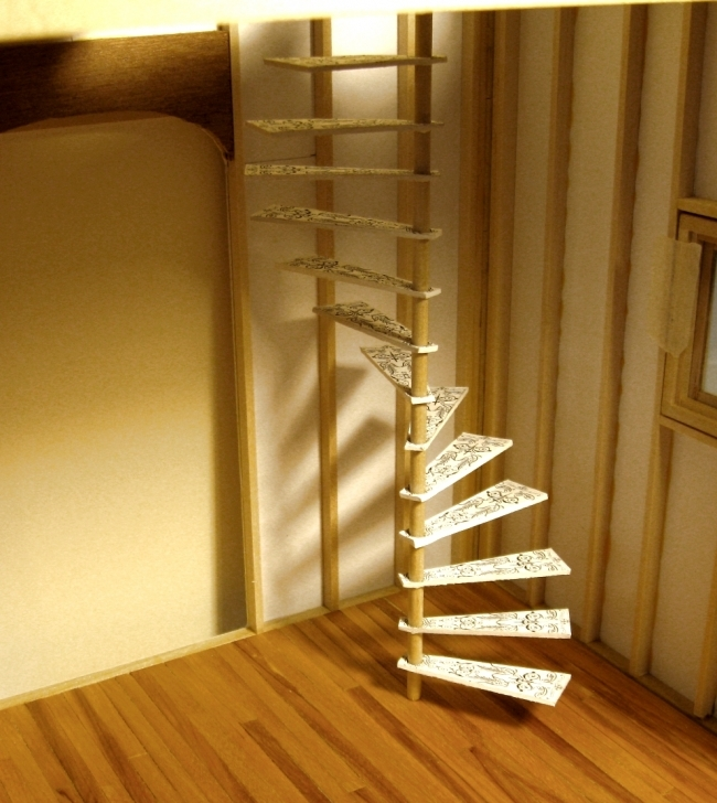 Wooden Spiral Staircase Inside Delightful Stair Appealing Home Design Simple Wood Without Handrail Photo257