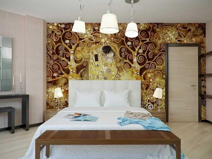 Art Deco Bedroom Design Ideas With Great Wall Painting For Master Bedroom Design With Modern Bed Pic 449
