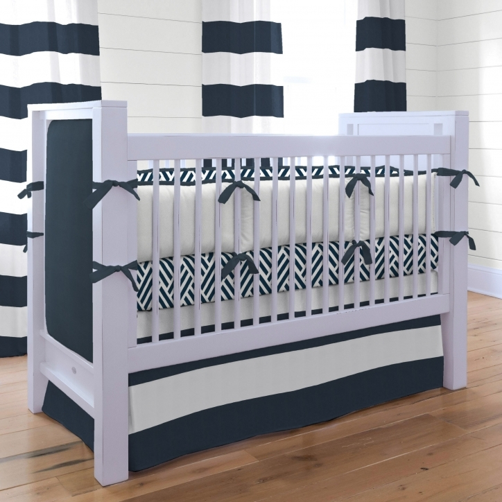 Baby Bedding For Boys Marvelous Navy And White Wave Pattern Also Horizontal Striped Pattern Curtain