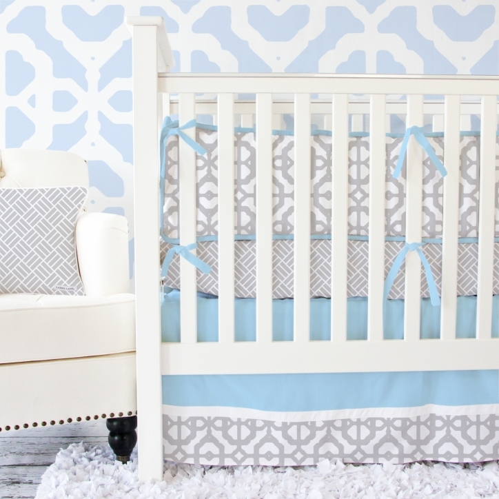 Baby Bedding Sets For Boys Attractive Modern Vintage Blue And Gray Lattice