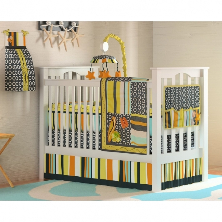 Baby Boy Bedding Sets Beautiful Striped Feat Round Pattern Bedding Set For White Wooden Baby Boy Crib
