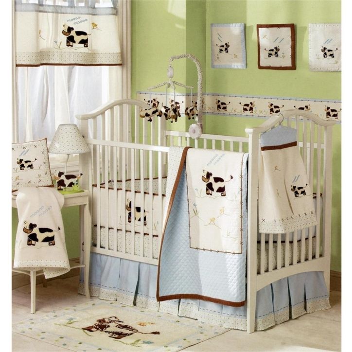 Baby Crib Bedding Sets With Cute Room Decoration With Wood Crib And Moo Cow Photo