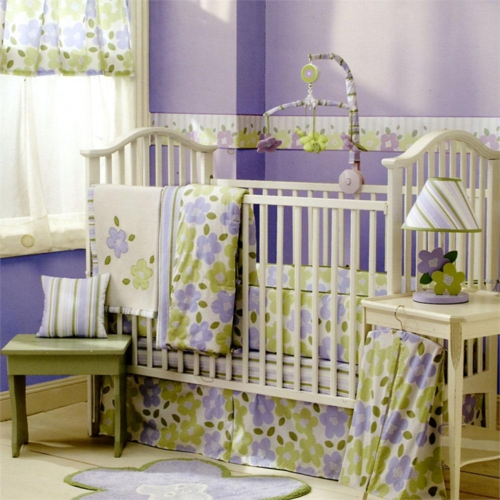Baby Crib Bedding Sets With Yellow Ideas And Purple Wall Decor Images