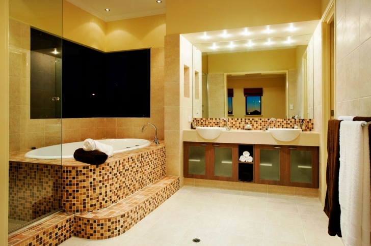 Beautiful Bathroom Lighting Fixtures Ideas With Beautiful Mosaic Bathtub Cover Completed Picture
