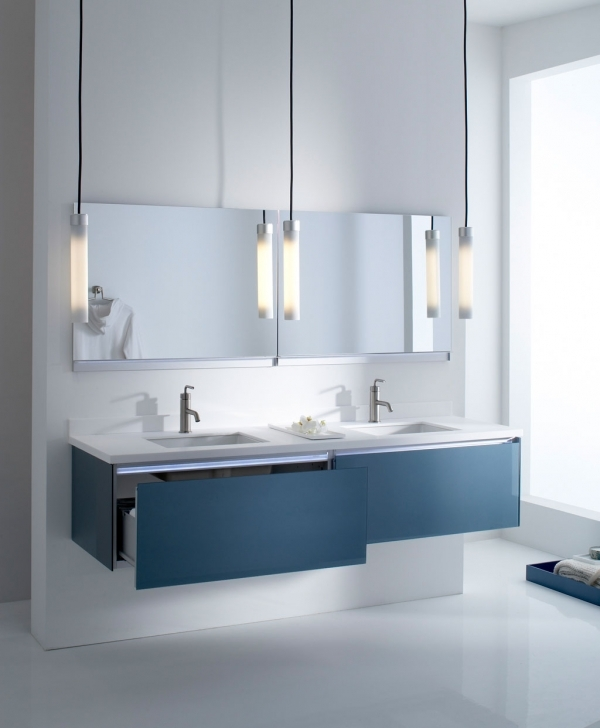 Beautiful Bathroom Lighting Fixtures Ideas With Great Modern Wall Mounted Bathroom Vanity With Double Drawers Images