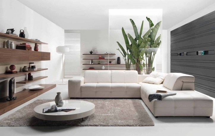 Beautiful Contemporary Living Room Furniture Ideas With Awesome Sectional Beige L Shaped Sofas And Modern Round Coffee Table Picture 987