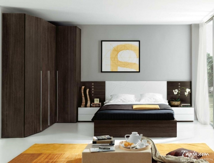 Bedroom Cupboard Designs And Colours With Beautiful Wooden Cupboard Brown Color And Black Bedding Pictures 211