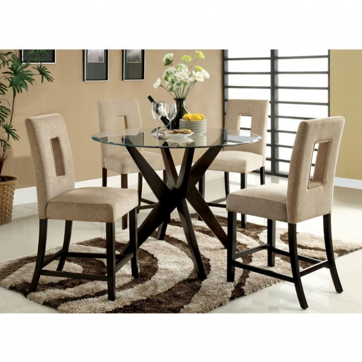 Modern Counter Height Dining Set Inside Wonderful Round Glass Table Top Contemporary Dining Room Sets Photo