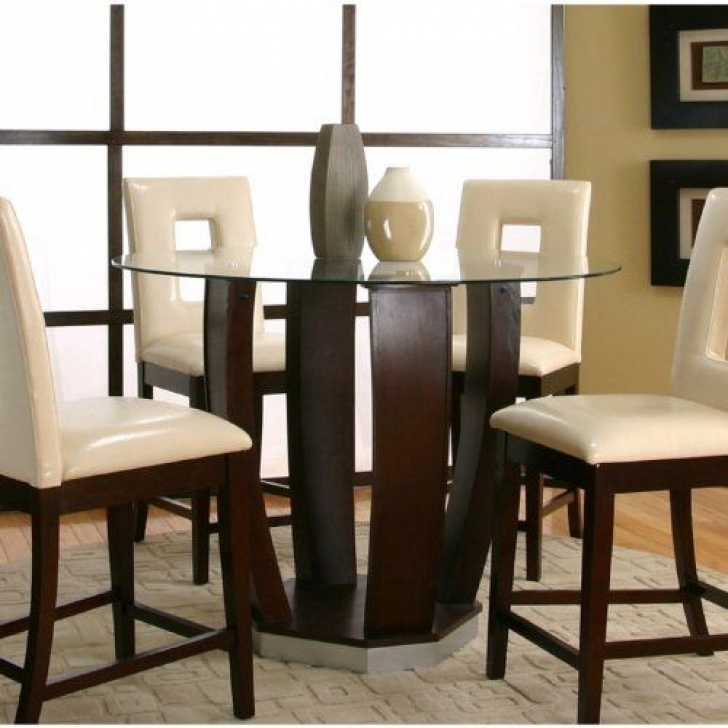 Modern Counter Height Dining Set With Cozy Furniture Cherry Finish Picture