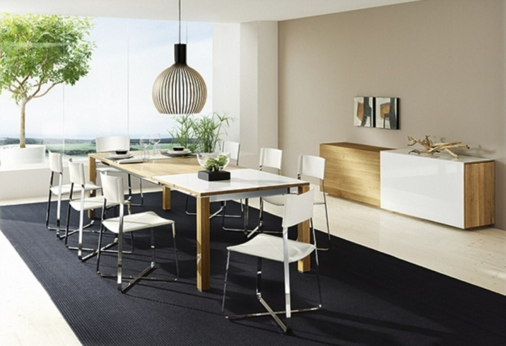 Modern Counter Height Dining Table Set With Amazing Dining Room Design And Laminate Flooring Also Black Rugs Pics