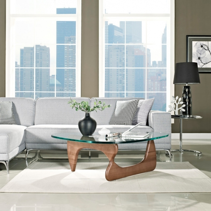Noguchi Coffee Table With Beautiful Modern Walnut Wood And Triangle Glass Pictures 763