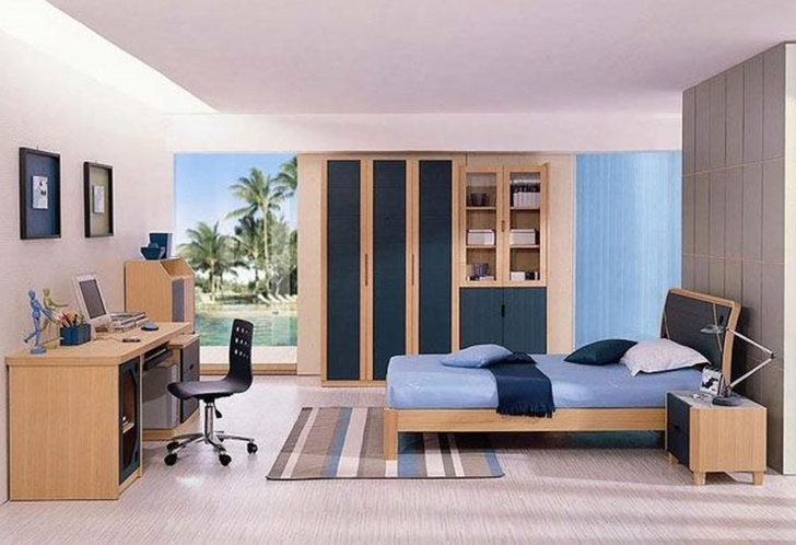 Paint Colors For Bedrooms With Light Wood Furniture Regarding Brilliant Rown Oak Bed Frames And Blue Mattress Also Built In Wardrobe Pictures