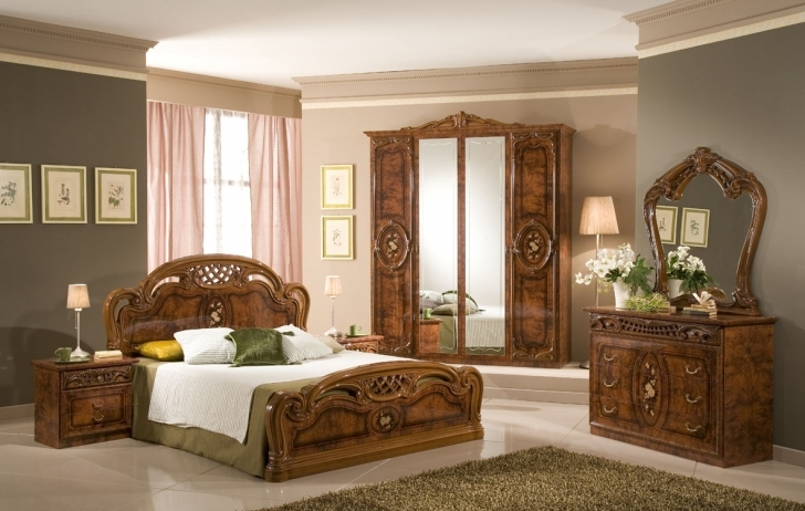 Paint Colors For Bedrooms With Light Wood Furniture With Gorgeous  Tuscany Bedroom Furniture And King Sized Carved Wood Bed Frame Picture
