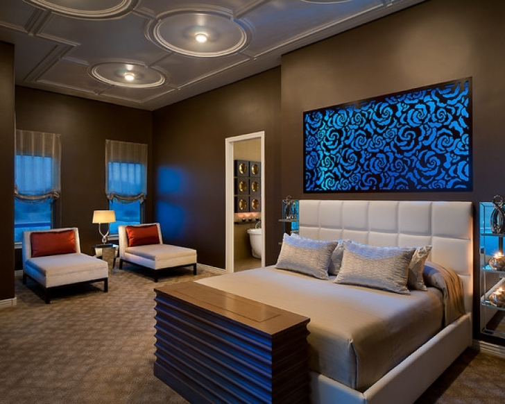 Paint Colors For Bedrooms With Light Wood Furniture Within Fantastic Queen Size Bed And White Padded Headboard Design Also Modern Ceiling Lights Picture