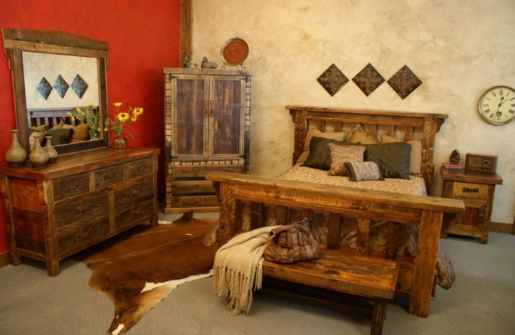 Rustic Bedroom Furniture Ideas Animal Skin Rug Idea And Red Accent Wall Paint 386