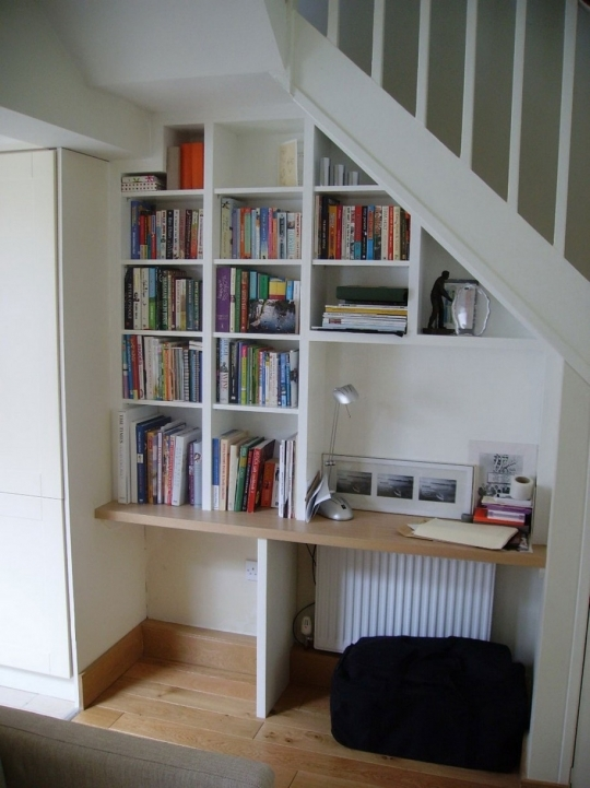 Under Stairs Storage Ideas Diy Desk Design And Natty Bookshelves With Small Reading Lamp 851