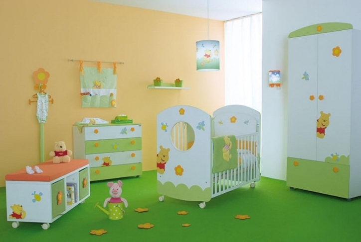 Baby Girl Nursery Themes Cute Neutral Color Green And White Also Gold Wall Ideas Image