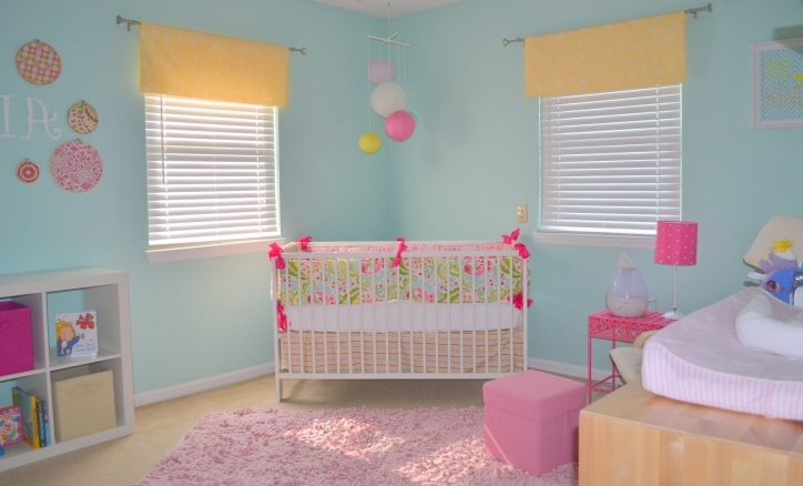 Baby Girl Nursery Themes Light Blue Wall With Paper Lantern Pics