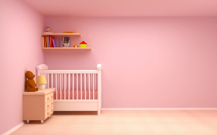 Baby Girl Nursery Themes White Wooden Crib In Pink Simple Design Pics