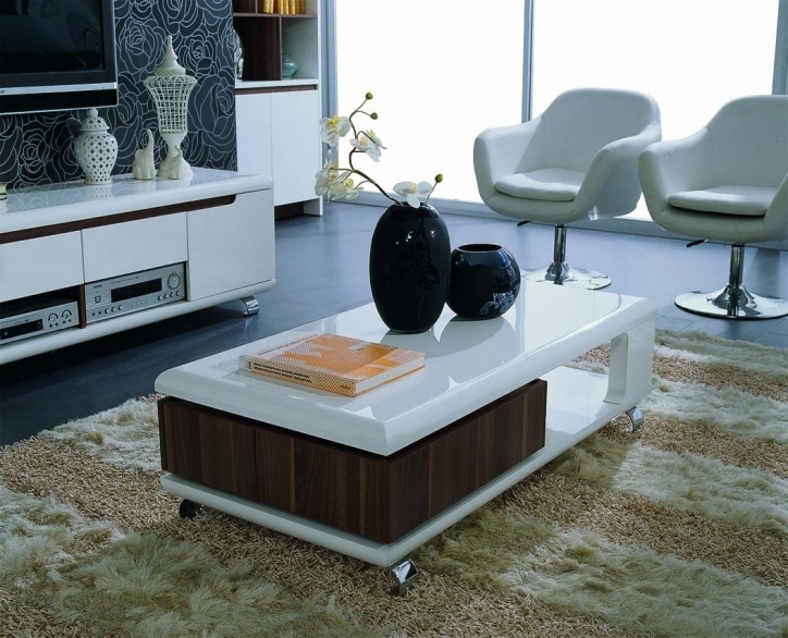 Contemporary Coffee Tables With Storage Modern White Table Design For Minimalist Living Room  Image