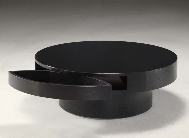 Contemporary Coffee Tables With Storage Round Ideas Black Color Image
