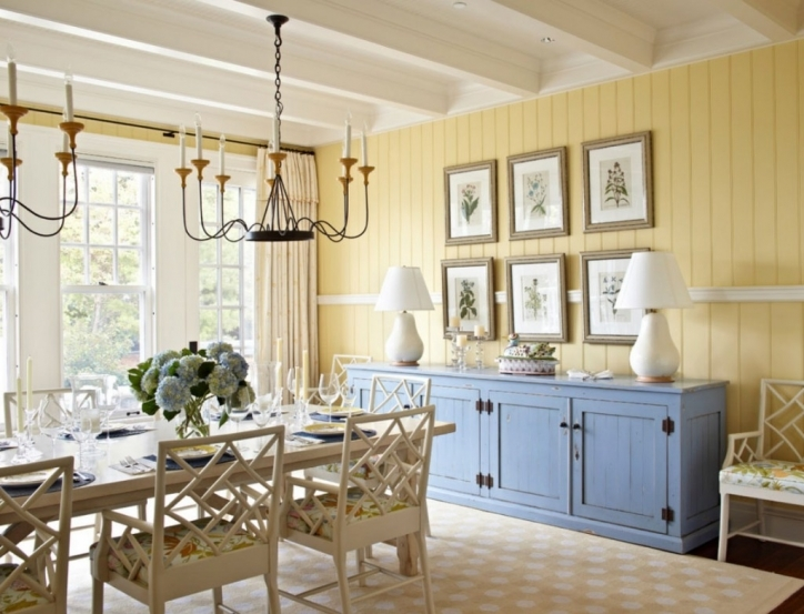 Dining Room Paint Colors Soft Yellow Wall Rustic With Blue Wood Cabinet Pics