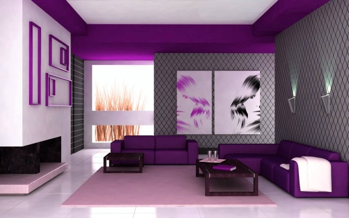 Excellent Purple Wall Decor Regarding Living Room Modern Also Gray Wall Images