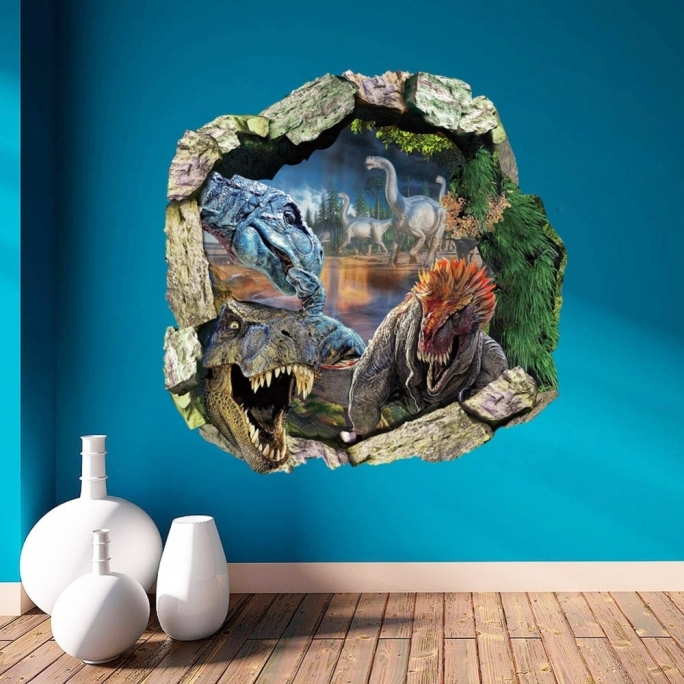 Jurassic World Room 1pieceslot Jurassic Park World Dinosaur 3d Wall Mural Stikcer Pvc Photo