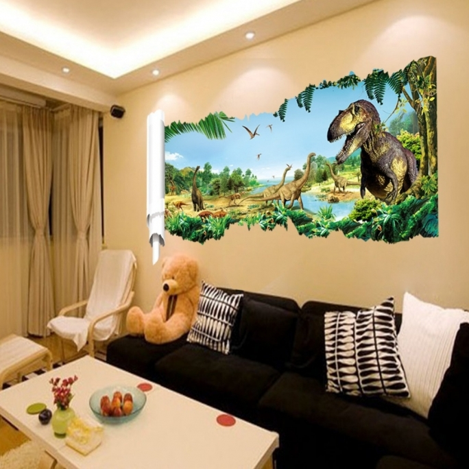 Jurassic World Room Dinosaur Wall Stickers Childrens Room Living Room 3D Photo