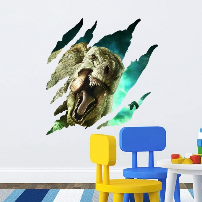 Jurassic World Room Ideas Dinosaur Kids Room Decor 4pcs Jurassic World Park 3D View Mural Wall Sticker Removable 4 Style  Photos