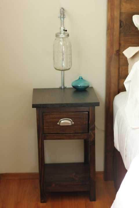 Narrow Bedside Table Square Dark Brown Wooden With Single Drawer For Bedroom Furniture Decorations Picture