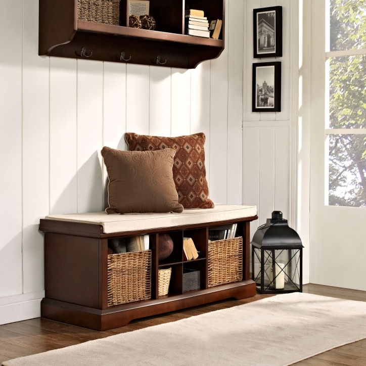 Narrow Hall Table Furniture Brown Polished Maple Storage Benches Entryway Table Ideas Pictures