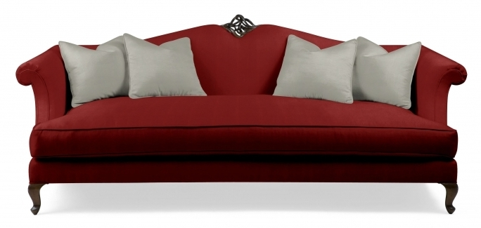 Scenic Red Fabric Traditional Camel Back Sofa Furniture Ideas Living Room Photos