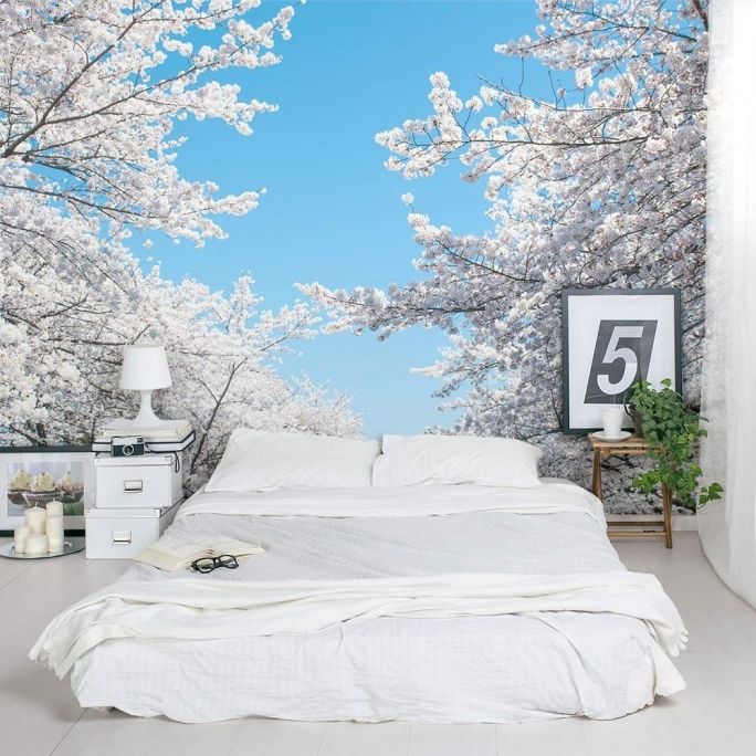 Stylish Removable Wall Murals Cherry Blossom Foliage Mural Bedroom Picture