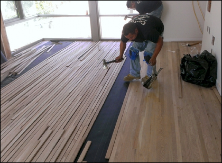 Unfinished Hardwood Flooring Installation  Images
