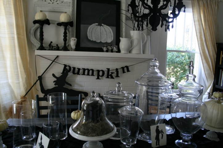 Wonderful Halloween Decoration Ideas For Party Black Dining Room Fireplace Mantel Wall Decor Picture