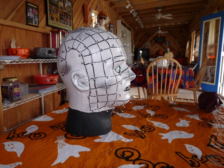 Wonderful Halloween Decoration Ideas For Party With Orange Carpet And Wall Shelf With Chair And Glass Windows Ideas Image