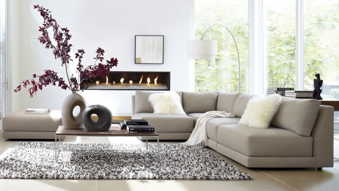 Ashley Furniture Sectional Sofas With Coffee Table And Shag Rug Plus Wall Mount Fireplace Picture